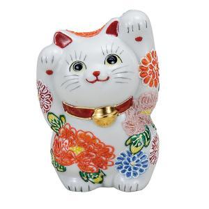 開運!九谷焼 両手上げ 招き猫 花づくし|waza