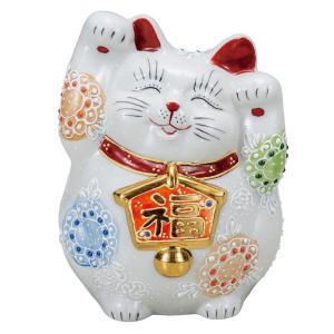 開運!九谷焼 両手上げ 絵馬招き猫 白盛|waza