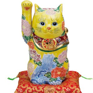 開運!九谷焼 右手 招き猫 花づくし|waza