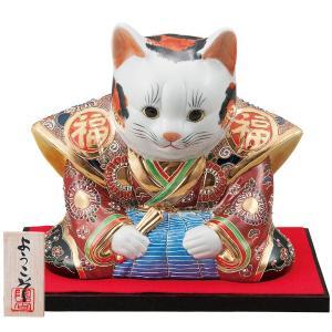 九谷焼 8号 福助招き猫 盛|waza