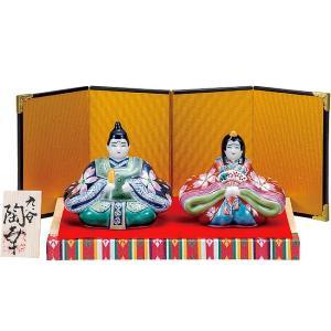 初節句 お祝い 九谷焼 陶器 雛人形 紺赤桜花紋|waza