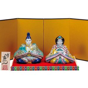 初節句 お祝い 九谷焼 陶器 雛人形 色絵松竹梅|waza