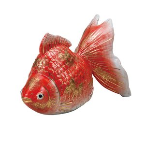 風水 置物 九谷焼 5号 金魚 赤彩|waza