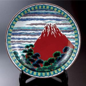 山上義正 九谷焼 12号 飾皿 赤富士|waza