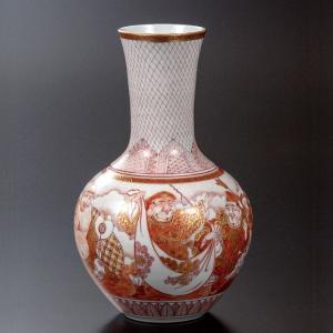 作家 澤田富雄 九谷焼 7号 花瓶 赤絵七福神|waza