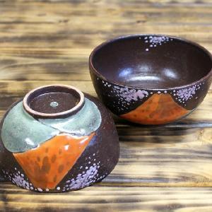 九谷焼 夫婦茶碗 湯のみ ペアセット 赤富士 金婚式/還暦祝い/名入れ/ギフト|waza|03
