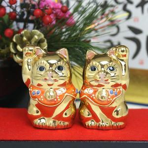 金運を呼ぶ♪ちび猫ゴールド 九谷焼ペア招き猫|waza