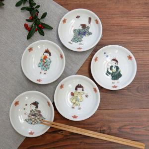 おしゃれ 陶器 和食器 九谷焼 小皿5枚セット わらべ|waza