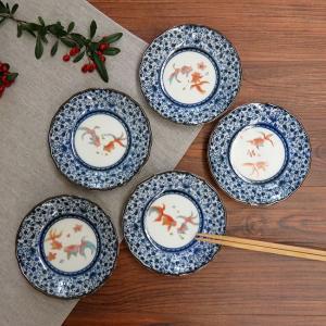 おしゃれ 陶器 和食器 九谷焼 小皿5枚セット 金魚|waza