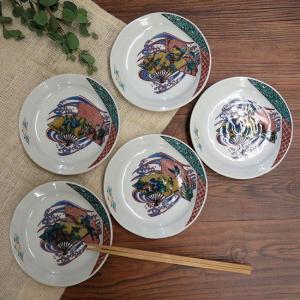 おしゃれ 陶器 和食器 九谷焼 小皿5枚セット 花鳥絵変り|waza