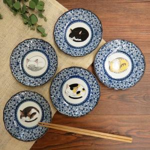 おしゃれ 陶器 和食器 九谷焼 小皿5枚セット 眠り猫|waza
