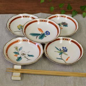おしゃれ 陶器 和食器 九谷焼 小皿5枚セット 花ごよみ|waza