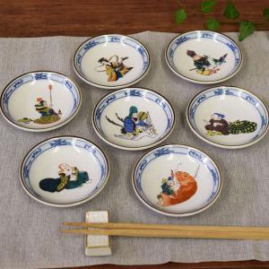 おしゃれ 陶器 和食器 九谷焼 小皿7枚セット 七福神|waza