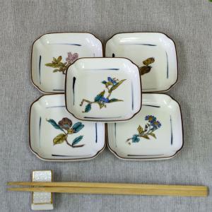 おしゃれ 陶器 和食器 九谷焼 角小皿5枚セット 草花絵変り|waza