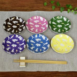 おしゃれ 陶器 和食器 九谷焼 小皿6枚セット うさぎ|waza