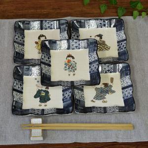 おしゃれ 陶器 和食器 九谷焼 角小皿5枚セット わらべ|waza