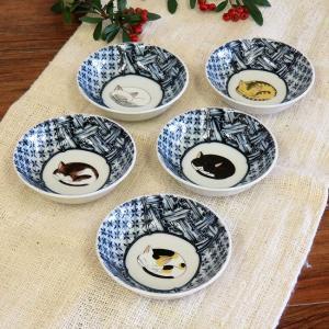 おしゃれ 和食器 鉢物 九谷焼 小鉢5個セット 眠り猫 waza