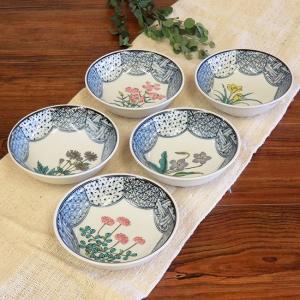 おしゃれ 和食器 鉢物 九谷焼 小鉢5個セット 草花絵変り waza
