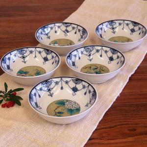 おしゃれ 和食器 鉢物 九谷焼 小鉢5個セット 瓔珞吉田屋草花 waza