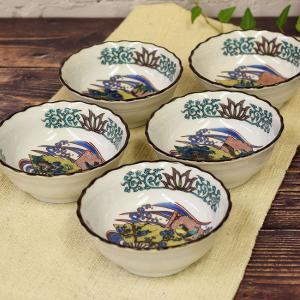 おしゃれ 和食器 鉢物 九谷焼 小鉢5個セット 花鳥絵変り waza