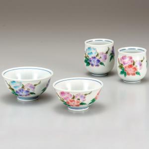 敬老の日ギフト 両親 九谷焼 夫婦湯のみ 夫婦茶碗 ペアセット はまなす|waza