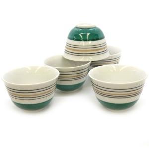 来客用 九谷焼 湯のみ 5客セット 緑地線紋 和食器 湯呑み茶碗|waza