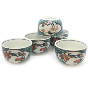 来客用 九谷焼 湯のみ 5客セット 緑彩唐草花鳥 和食器 湯呑み茶碗|waza