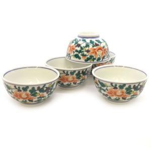 来客用 九谷焼 湯のみ 5客セット 牡丹唐草 和食器 湯呑み茶碗|waza