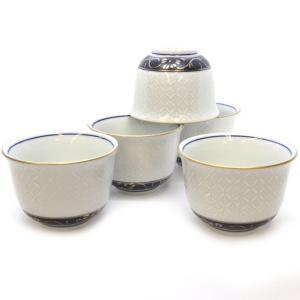来客用 九谷焼 湯のみ 5客セット 白七宝 和食器 湯呑み茶碗|waza