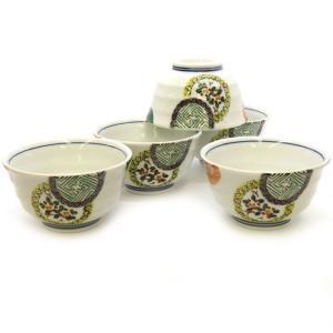 来客用 九谷焼 湯のみ 5客セット 色絵丸紋 和食器 湯呑み茶碗|waza