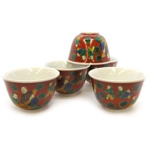 来客用 九谷焼 湯のみ 5客セット 木米 和食器 湯呑み茶碗|waza