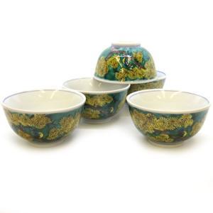 来客用 九谷焼 湯のみ 5客セット 吉田屋松に鳥 和食器 湯呑み茶碗|waza