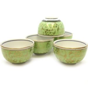 来客用 九谷焼 湯のみ 5客セット 白粒鉄仙きみどり 和食器 湯呑み茶碗|waza