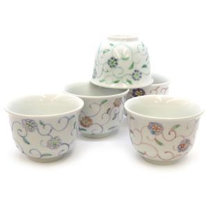 来客用 九谷焼 湯のみ 5客セット 小花唐草紋 和食器 湯呑み茶碗|waza