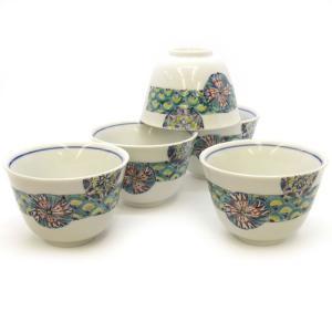 来客用 九谷焼 湯のみ 5客セット 丸小紋 和食器 湯呑み茶碗|waza