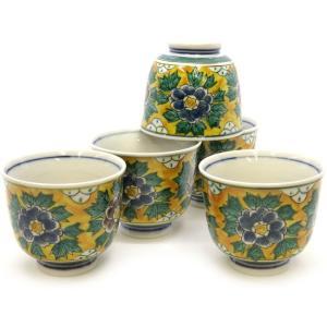 来客用 九谷焼 湯のみ 5客セット 吉田屋牡丹 和食器 湯呑み茶碗|waza