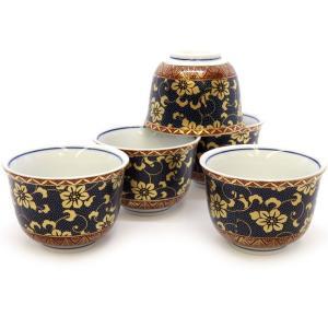 来客用 九谷焼 湯のみ 5客セット 青粒鉄仙 和食器 湯呑み茶碗|waza