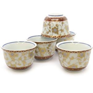 来客用 九谷焼 湯のみ 5客セット 白粒鉄仙 和食器 湯呑み茶碗|waza