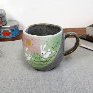 誕生日プレゼント 古希祝い 九谷焼 マグカップ はねうさぎ|waza