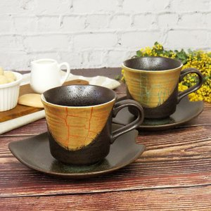 結婚祝い ギフト 九谷焼 コーヒーカップ&ソーサー ペアセット 金箔彩|waza