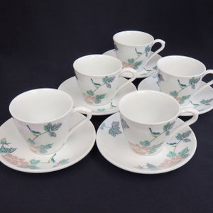 来客用 九谷焼 高級 コーヒーカップ&ソーサー 5客セット 小鳥|waza