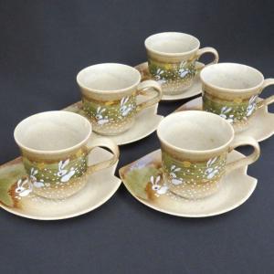 来客用 九谷焼 高級 コーヒーカップ&ソーサー 5客セット はねうさぎ|waza