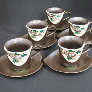 来客用 九谷焼 高級 コーヒーカップ&ソーサー 5客セット ふくろう|waza