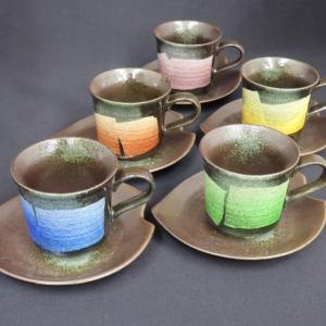 来客用 九谷焼 高級 コーヒーカップ&ソーサー 5客セット 銀彩|waza