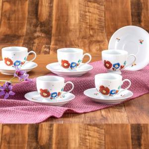 来客用 九谷焼 高級 コーヒーカップ&ソーサー 5客セット 魯山人椿写し|waza