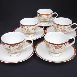 来客用 九谷焼 高級 コーヒーカップ&ソーサー 5客セット 白粒鉄仙|waza