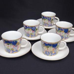 来客用 九谷焼 高級 コーヒーカップ&ソーサー 5客セット 青地金花詰|waza