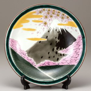 絵皿 九谷焼 飾り皿 桜富士 新築祝い 叙勲祝いギフト 記念品|waza
