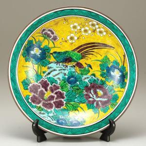 絵皿 九谷焼 飾り皿 吉田屋金鶏 新築祝い 開店祝い 叙勲祝いギフト|waza