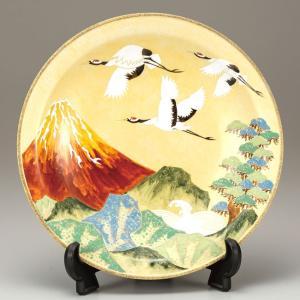 絵皿 九谷焼 飾り皿 赤富士に鶴 新築祝い 開店祝い ギフト 記念品|waza